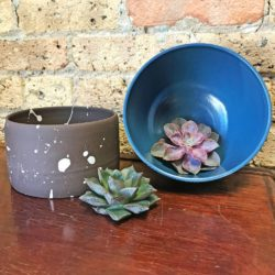 Stella Artisan Stoneware Brown Splatter Design Planter