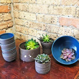 Stella Artisan Stoneware Brown Splatter Design Planter