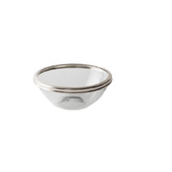 Thames Small Clear Glass Bowl with Silver Metal Edge