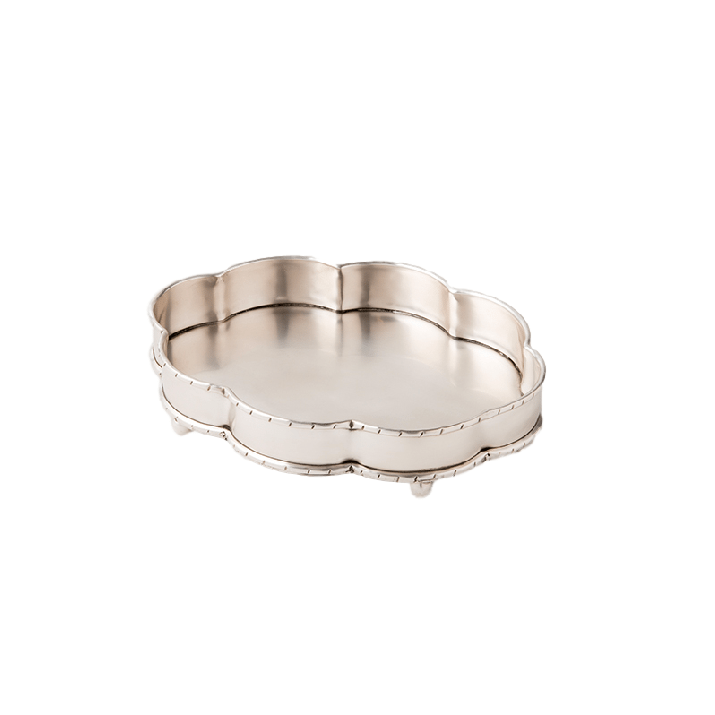 Gotham Grooved Silver Metal Footed Tray