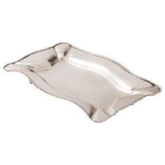 Axton Rectangular Silver Metal Tray (medium)