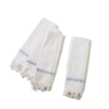 Odi White Cotton Dish Towels with Blue Stripe (set of four)