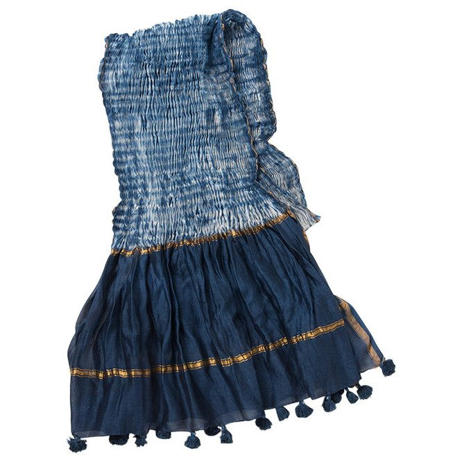 Sel Hand Dyed Indigo Cotton and Silk Table Linen
