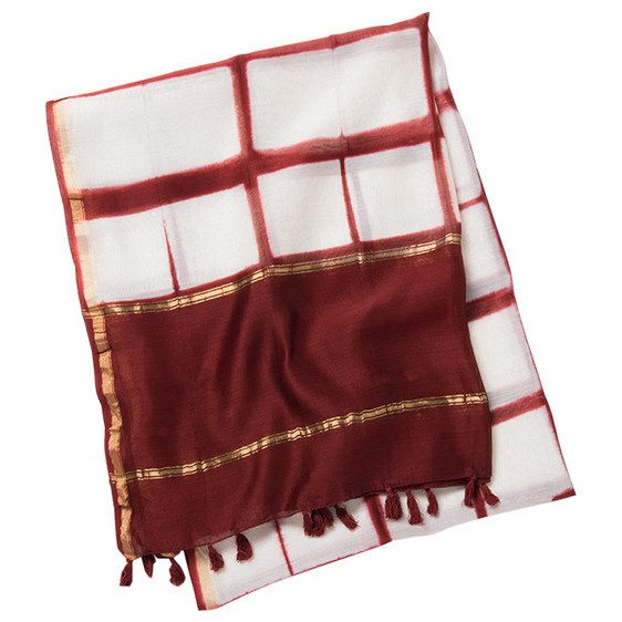 Oz Paprika Red Hand Dyed Cotton and Silk Table Linen