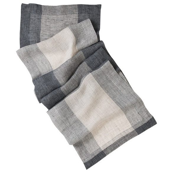Banning Charcoal and White Patterned Linen Table Runner