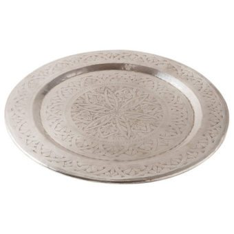 Tazim Silver Metal Round Etched Serving Tray