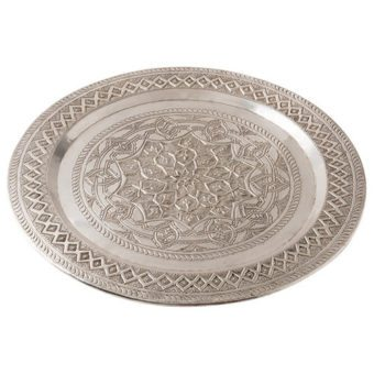 Takara Silver Metal Round Etched Serving Tray