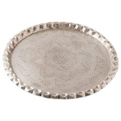 Nani Silver Metal Round Serving Tray with Pinch Pie Edging