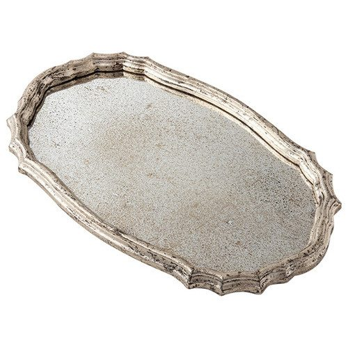 Gemma Mirrored Serving Tray with Silver Edging