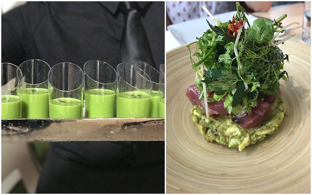 Collage photo of green juice in glasses on the left and a green-herb-heavy entree on the right