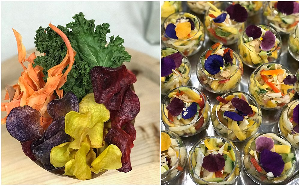 Photo collage with purple yellow and red vegetable chips on the left and desert fruit cups garnished with pink and purple edible flowers