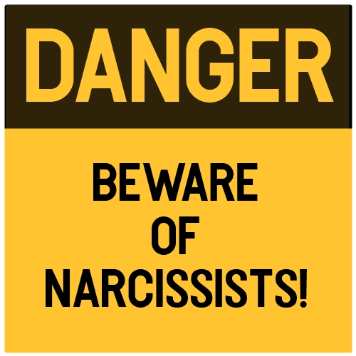 Black and yellow danger sign warning how to spot a narcissist
