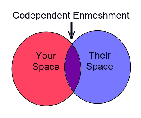 Two intersecting circles represent your space, their space, and codependency enmeshment.