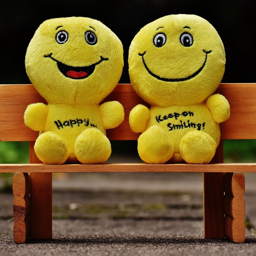 Two yellow stuffed animals sitting on a bench represent happiness