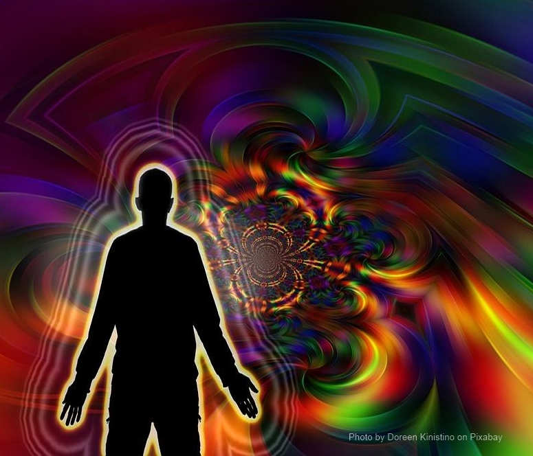 Image of man with colorful aura and positive vibes.