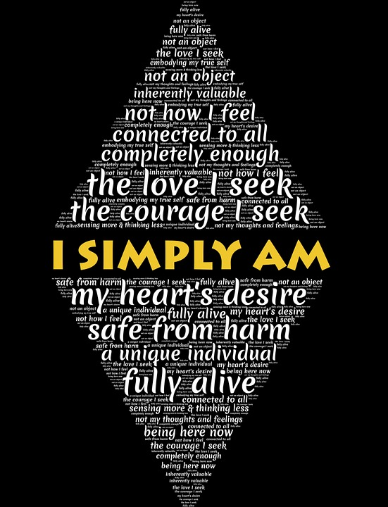 I Simply Am word art on black background affirms the authentic self.
