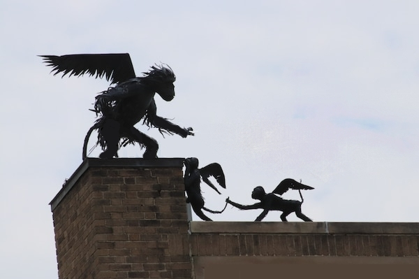 Flying Monkeys on rooftop