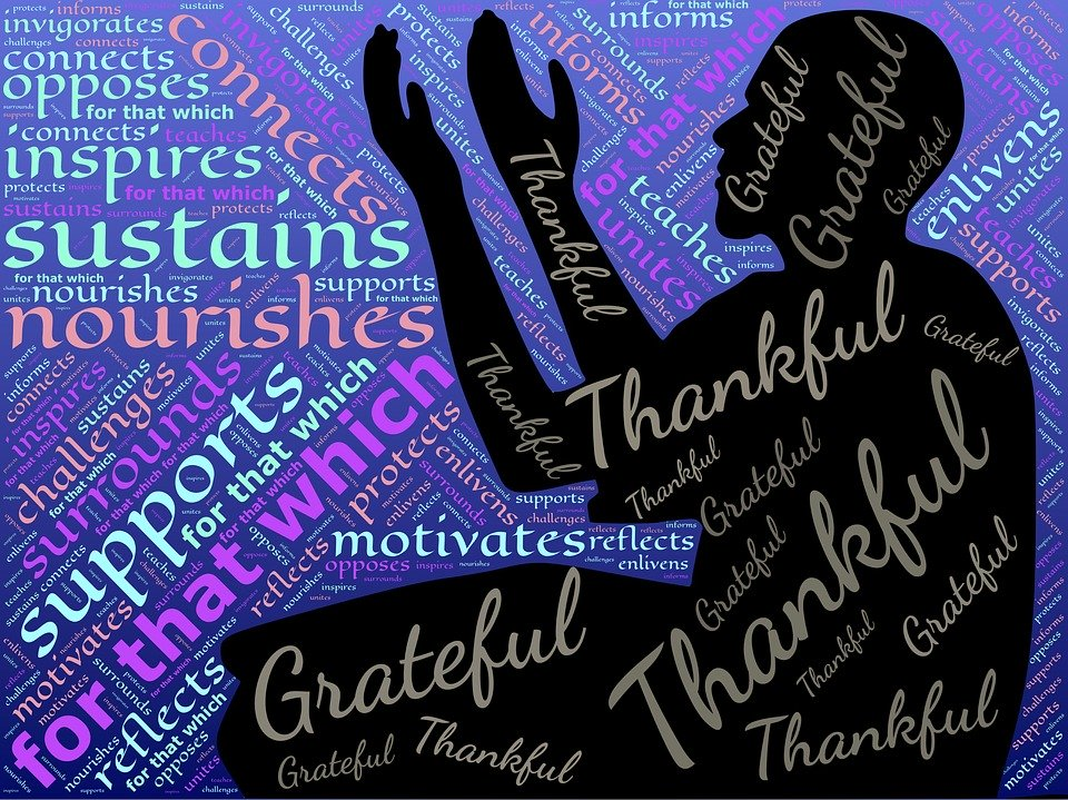 Image of thankful grateful word art with black silhouette.