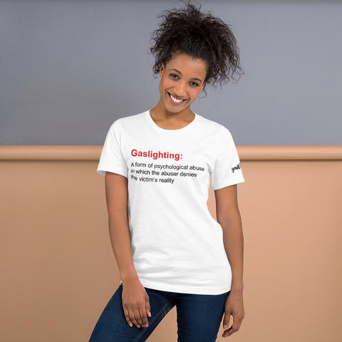 image of woman in white tshirt with parental alienation is child abuse slogan
