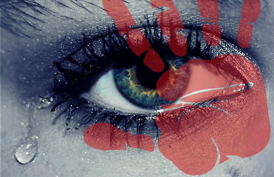 Image of red hand print over eye with tear means stop tolerating toxic behavior