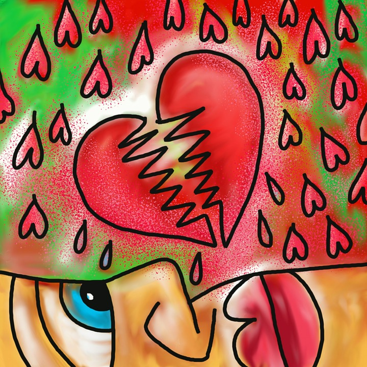 Colorful image of broken heart represents challenges of healing after narcissistic abuse