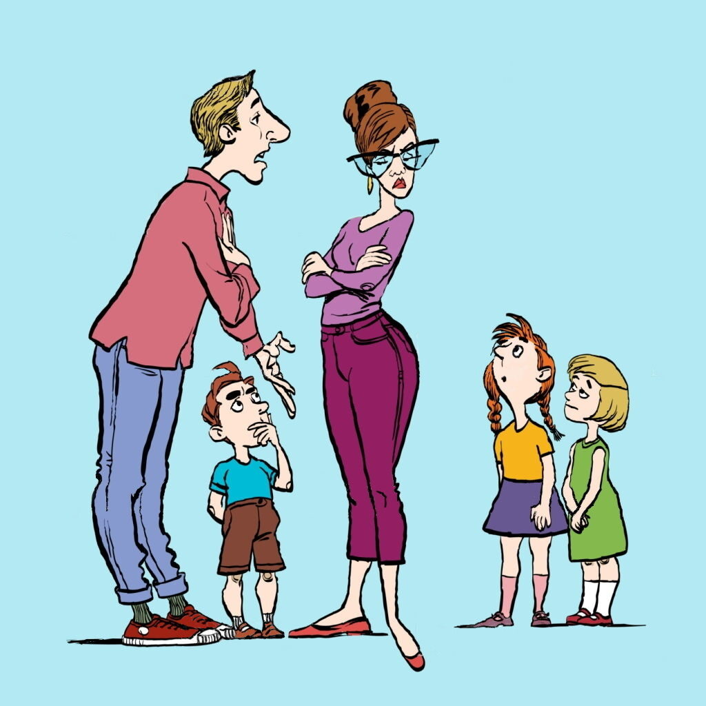 Vector of parents arguing in front of three children