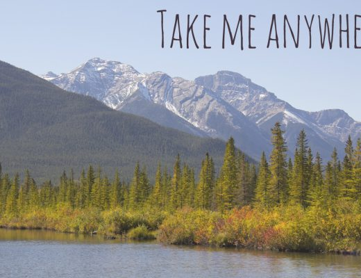 Landscape with travel quote: Take me anywhere