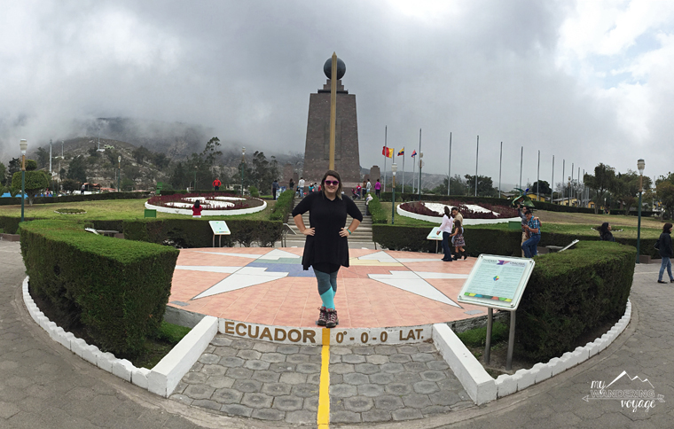 """Standing on the """"equator"""" in Quito, Ecuador 