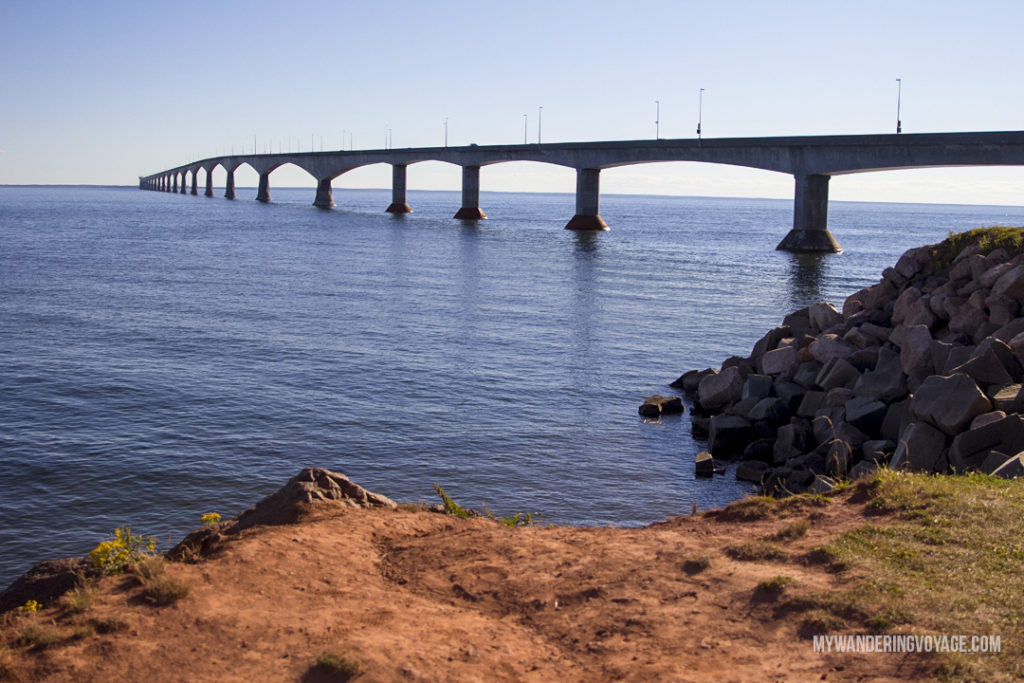 Confederation Bridge - Prince Edward Island, one of the four Canadian Atlantic provinces, is full of stunning landscapes and island hospitality. Known for its red-sandy beaches and glorious seafood, PEI offers a little something for everyone. Nine places to explore in Prince Edward Island | My Wandering Voyage Travel Blog