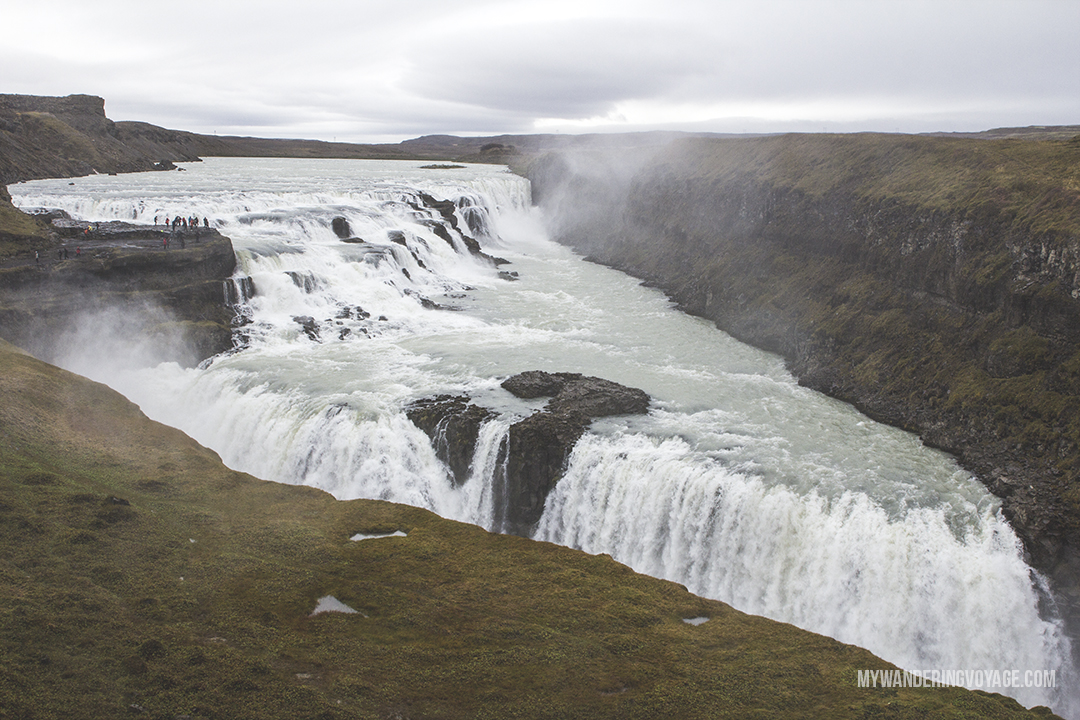 Gullfoss - The Golden Circle is a well-known destination in Iceland, and it's easy to see why. The Golden Circle is part of a road loop that can be seen in a day from Reykjavik and hits some of Iceland's most famous landmarks   My Wandering Voyage travel blog