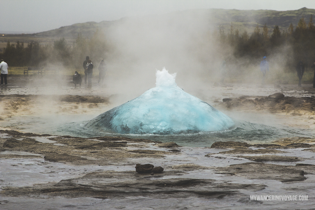 Geysir - The Golden Circle is a well-known destination in Iceland, and it's easy to see why. The Golden Circle is part of a road loop that can be seen in a day from Reykjavik and hits some of Iceland's most famous landmarks   My Wandering Voyage travel blog