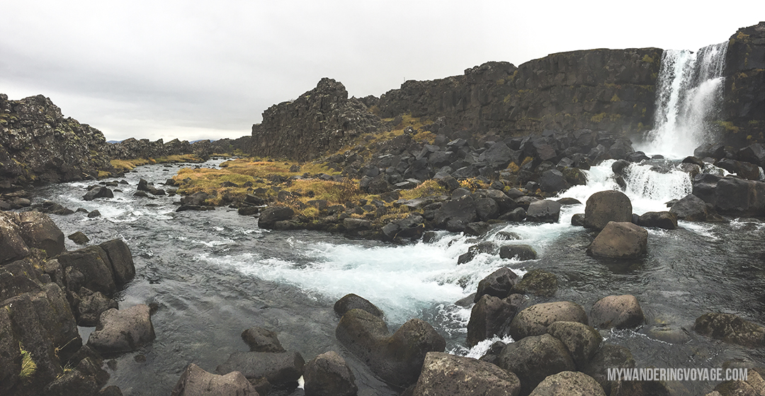 Öxarárfoss - The Golden Circle is a well-known destination in Iceland, and it's easy to see why. The Golden Circle is part of a road loop that can be seen in a day from Reykjavik and hits some of Iceland's most famous landmarks   My Wandering Voyage travel blog