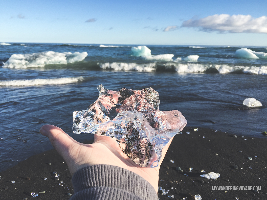 Diamond Beach - Don't leave Iceland without going to these eight stops along Iceland's South Shore | My Wandering Voyage travel blog