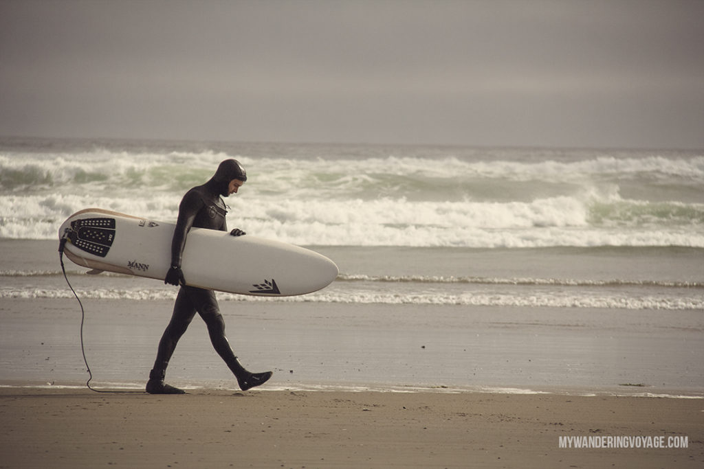 Surfing in Tofino | Get out and explore Beautiful British Columbia. From the coastal rainforests to the summit of mountains to cities like Vancouver and Victoria, there is so much to discover in British Columbia. Here's everything you need to see in 10 days in British Columbia | My Wandering Voyage travel blog