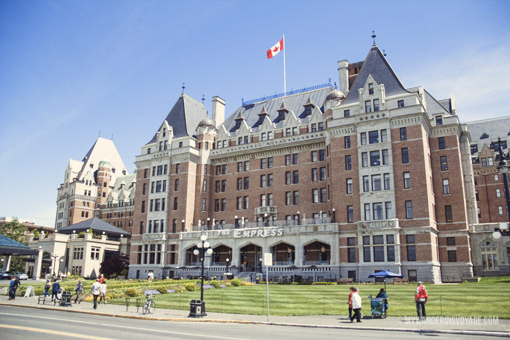 Empress Hotel Victoria, BC | Get out and explore Beautiful British Columbia. From the coastal rainforests to the summit of mountains to cities like Vancouver and Victoria, there is so much to discover in British Columbia. Here's everything you need to see in 10 days in British Columbia | My Wandering Voyage travel blog