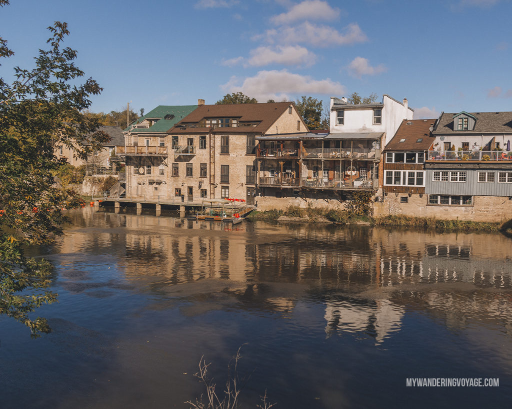 Downtown Elora and Grand River | The ultimate list of things to do in Elora, Ontario. Visit Elora for its small town charm, natural beauty and one-of-a-kind shops and restaurants | My Wandering Voyage travel blog