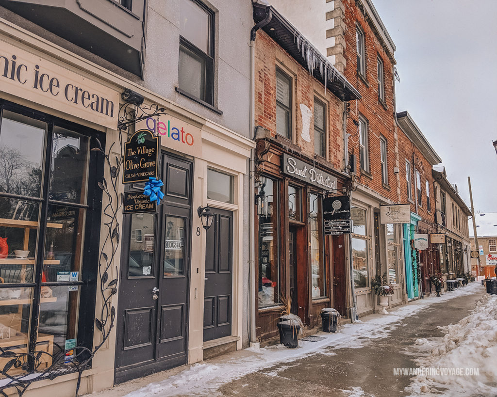 Elora Downtown | The ultimate list of things to do in Elora, Ontario. Visit Elora for its small town charm, natural beauty and one-of-a-kind shops and restaurants | My Wandering Voyage travel blog