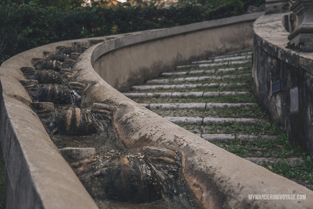 Villa d'Este cascade waterfall staircase | Visit UNESCO World Heritage Sites Villa Adriana and Villa d'Este in a day trip to Tivoli, Italy, a mountainside town about 30 kilometres from Rome. | My Wandering Voyage travel blog #rome #italy #travel #UNESCO