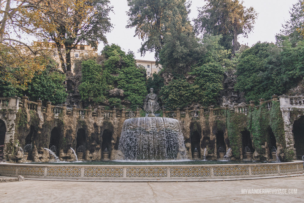 Villa d'Este Oval Fountain | Visit UNESCO World Heritage Sites Villa Adriana and Villa d'Este in a day trip to Tivoli, Italy, a mountainside town about 30 kilometres from Rome. | My Wandering Voyage travel blog #rome #italy #travel #UNESCO