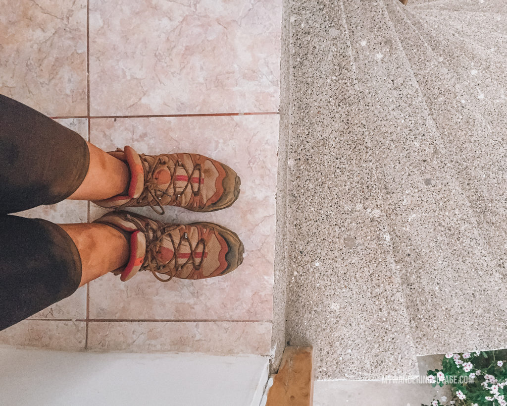 Dusty feet from hiking on Galapagos | What to pack for the Galapagos Islands. Find out what to bring, what to leave at home, when the best time to visit the Galapagos Islands is, and other tips in this Galapagos packing list. | My Wandering Voyage travel blog #travel #galapagos #galapagosislands #packing list