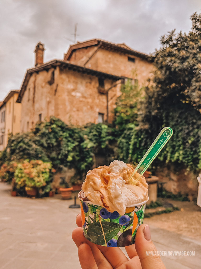 Gelato in Pienza Italy | With the powerful device in your pocket you can take incredible photos of your travels. Here is the ultimate guide to smartphone travel photography. | My Wandering Voyage travel blog #travel #photography #tips #travelphotography #smartphonephotography