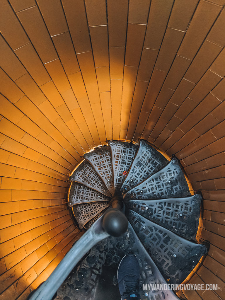 Looking down a spiral staircase | With the powerful device in your pocket you can take incredible photos of your travels. Here is the ultimate guide to smartphone travel photography. | My Wandering Voyage travel blog #travel #photography #tips #travelphotography #smartphonephotography