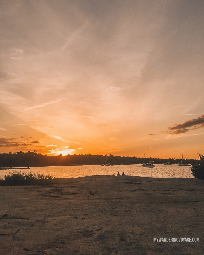 Sunset at Georgian Bay Islands National Park | Are you an explorer? A foodie? Or how about a beach bum? There's something for everyone in this list of fantastic day trips from Toronto | My Wandering Voyage travel blog #toronto #ontario #canada #ontariotravel #travel