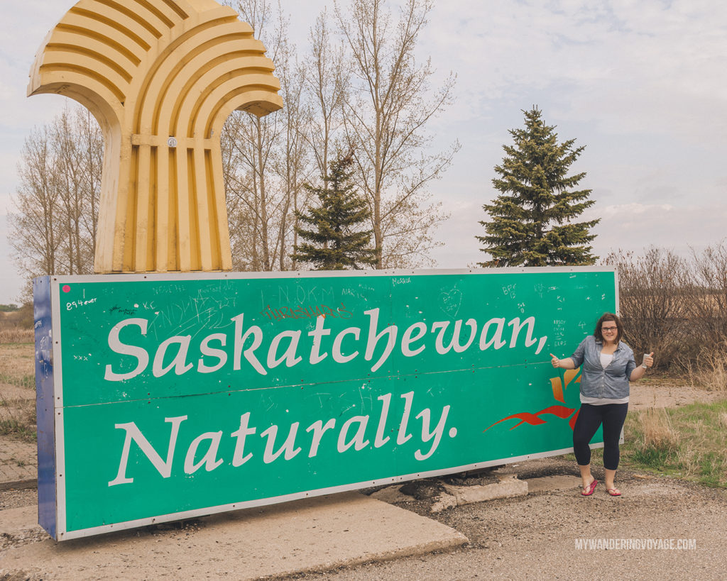 Welcome to Saskatchewan road sign | When road trip season hits, don't be caught unprepared. Make sure you have everything you need with this road trip packing list for a successful and enjoyable trip | My Wandering Voyage travel blog #travel #roadtrip #packing #USA #Canada