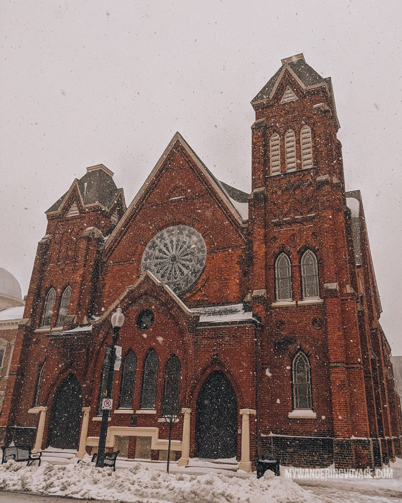 Snowy winter church in Ontario, Canada | With the powerful device in your pocket you can take incredible photos of your travels. Here is the ultimate guide to smartphone travel photography. | My Wandering Voyage travel blog #travel #photography #tips #travelphotography #smartphonephotography