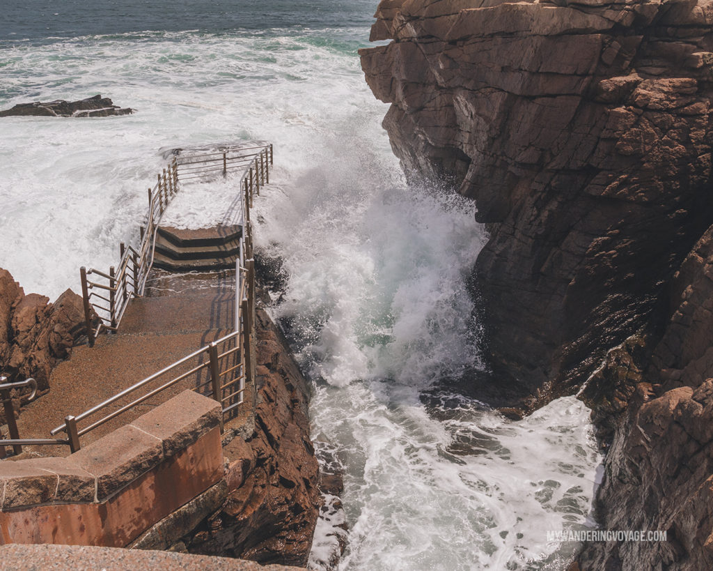 Thunder hole, Acadia National Park   This New England road trip itinerary will take you on the scenic route from Boston to Portland, Mid Coast Maine and Acadia National Park.   My Wandering Voyage #Boston #Portland #Maine #travel