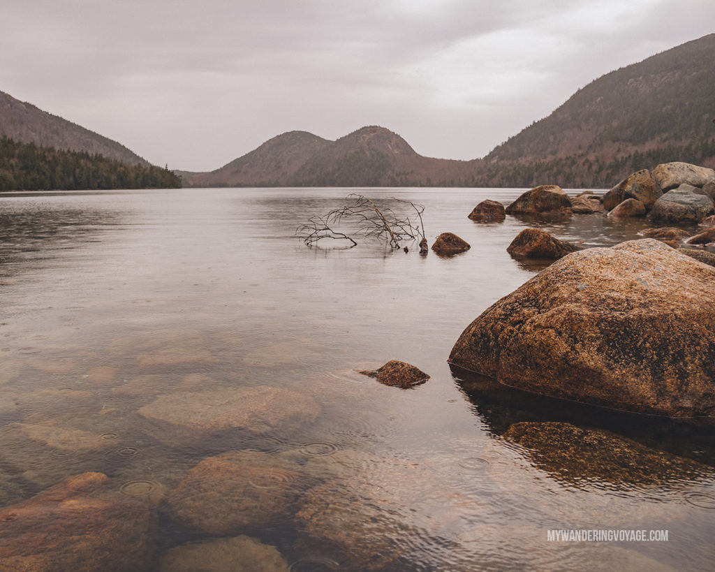 Jordan Pond, Acadia National Park   This New England road trip itinerary will take you on the scenic route from Boston to Portland, Mid Coast Maine and Acadia National Park.   My Wandering Voyage #Boston #Portland #Maine #travel