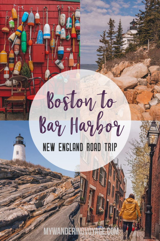 This New England road trip itinerary will take you on the scenic route from Boston to Portland, Mid Coast Maine and Acadia National Park.   My Wandering Voyage #Boston #Portland #Maine #travel