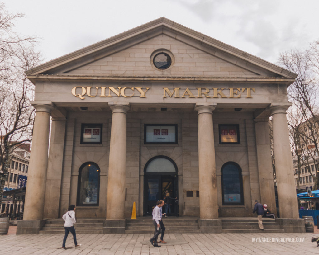 Quincy Market, Boston   This New England road trip itinerary will take you on the scenic route from Boston to Portland, Mid Coast Maine and Acadia National Park.   My Wandering Voyage #Boston #Portland #Maine #travel