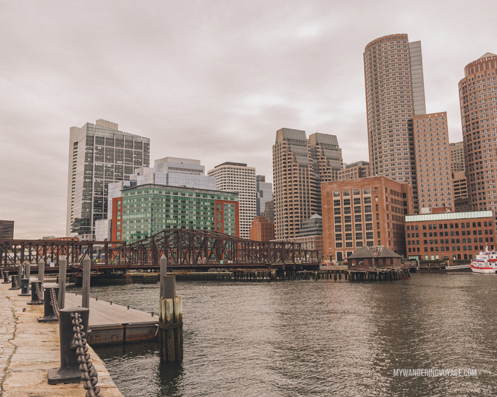 Fan Pier Park overlooking Boston   This New England road trip itinerary will take you on the scenic route from Boston to Portland, Mid Coast Maine and Acadia National Park.   My Wandering Voyage #Boston #Portland #Maine #travel
